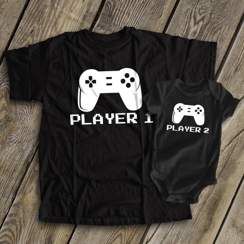 d27d62c2 Video game player 1 and player 2 matching dad and kiddo t-shirt or bodysuit  custom DARK gift set