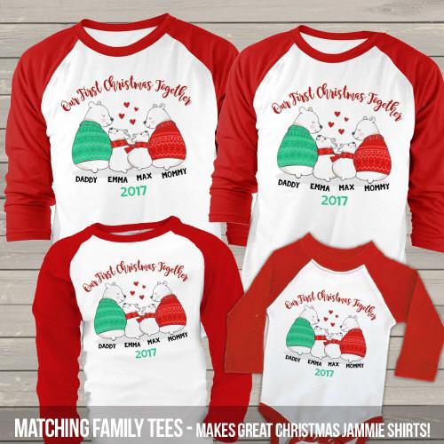 36e6d956 First Christmas together snow bear matching FOUR raglan shirt set