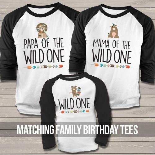 07a743e2 birthday party raglan shirt set, dada mama baby lion wild one three ...