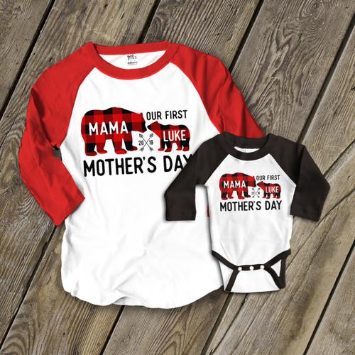 28f348b10 First Mothers Day mama baby buffalo plaid bear raglan shirt set