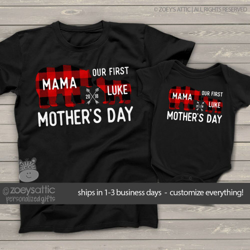 dfef96f6 First Mothers Day mama baby buffalo plaid bear matching DARK shirt gift set