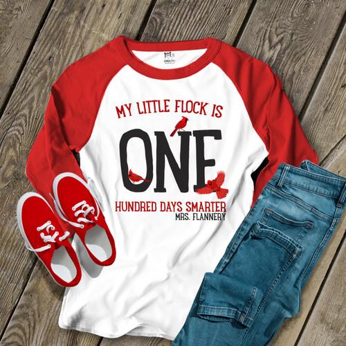 ebb3c4a5 teacher shirt, cardinal red bird glitter vinyl 100 days smarter ...