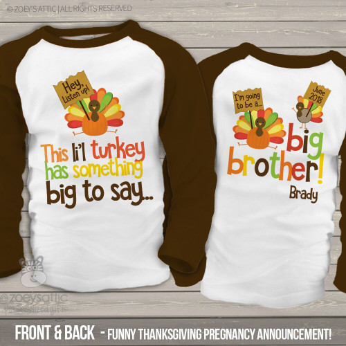 fcdf71de Thanksgiving big brother to be li'l turkey pregnancy announcement raglan  Tshirt