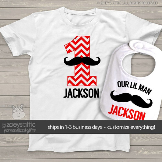 First Birthday Shirt And Bib Boy Mustache Chevron Number One Or Any Age Personalized Tshirt Bodysuit Set