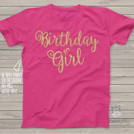 Birthday Girl Sparkly Glitter DARK Tshirt