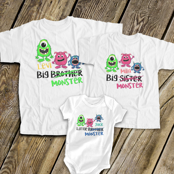 Big brother or sister monster three sibling Tshirt set