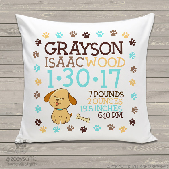 Birth announcement pillow puppy dog custom throw pillow with pillowcase