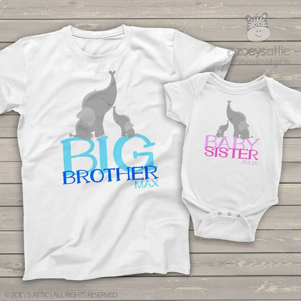 Brother or sister elephant sibling Tshirt set