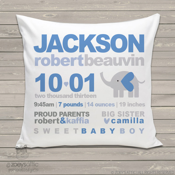 Birth announcement pillow MOD elephant custom throw pillow with pillowcase