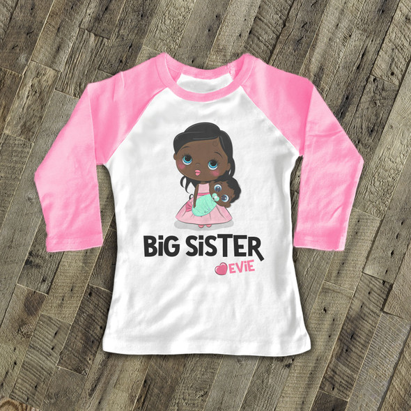 Big sister personalized stick figure sweet pregnancy announcement raglan Tshirt