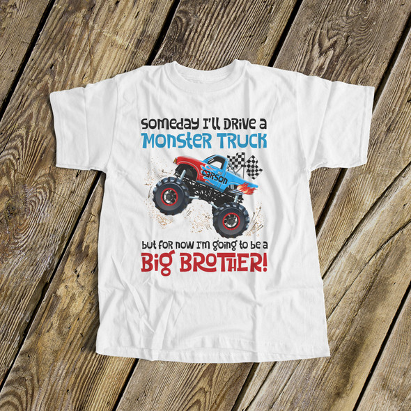 Big brother to be shirt monster truck pregnancy announcement Tshirt