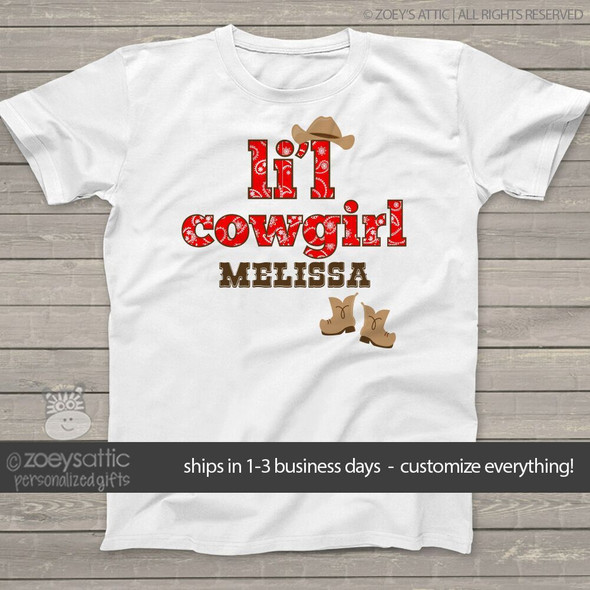 Cowgirl shirt girl cowgirl buckaroo personalized Tshirt