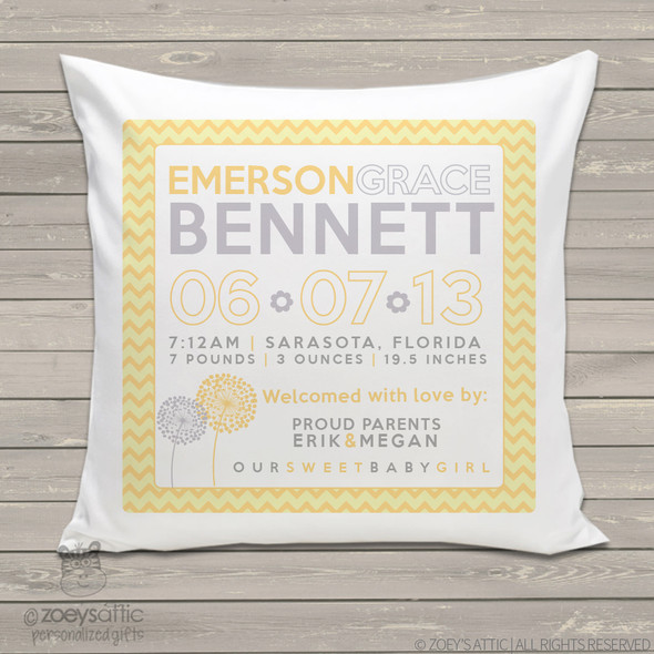 Birth announcement pillow chevron design custom throw pillow with pillowcase