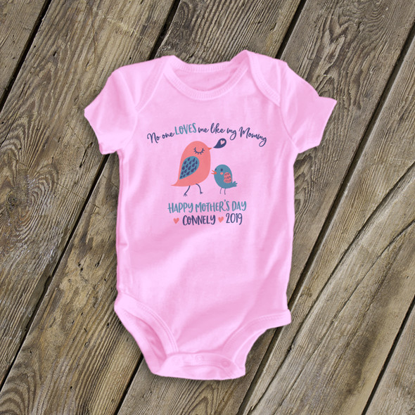 Mother's Day girl birdie personalized  bodysuit or Tshirt