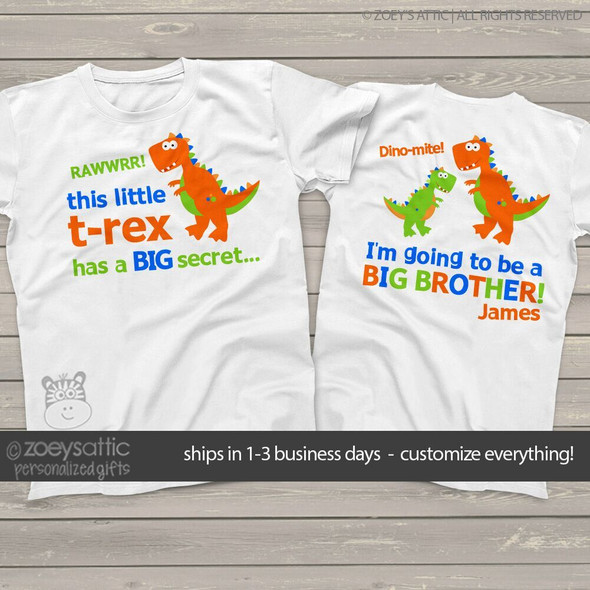 Big brother to be shirt funky dinosaur secret pregnancy announcement Tshirt