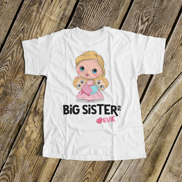 Big sister to twins shirt big sister squared personalized stick figure Tshirt