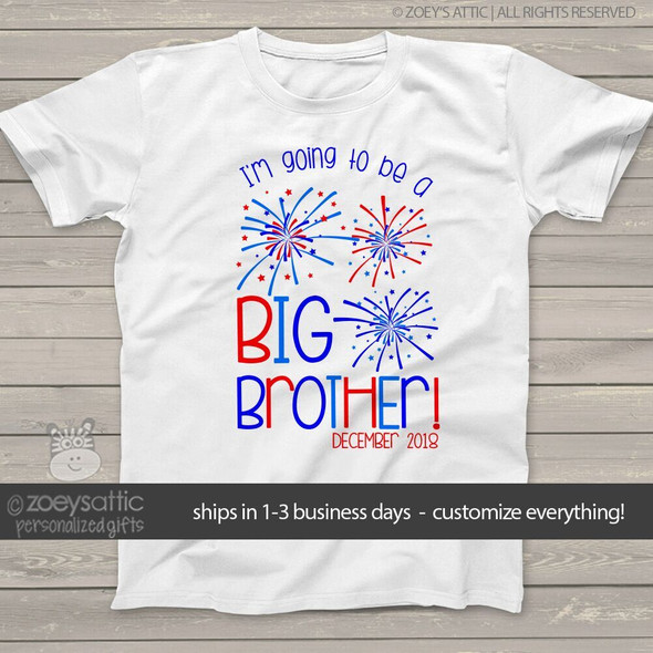 Big brother to be shirt 4th of July pregnancy announcement Tshirt
