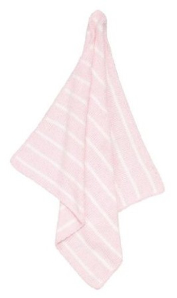 Striped pink/ivory chenille blanket by Angel Dear