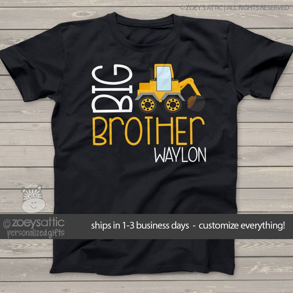 Big brother shirt construction truck DARK Tshirt