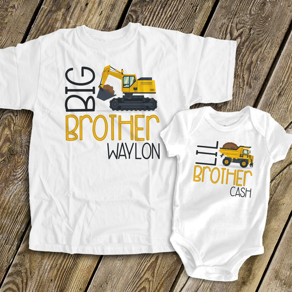 Big brother Lil brother construction truck sibling Tshirt set