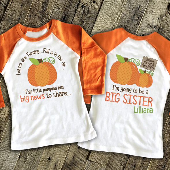 Big sister to be shirt little pumpkin big news pregnancy announcement raglan Tshirt
