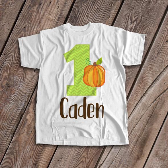 First birthday shirt pumpkin fall theme 1st (or any) birthday childrens personalized Tshirt
