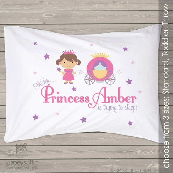 Personalized princess and carriage travel or toddler pillow and pillowcase