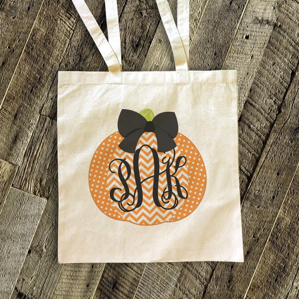 Halloween bag monogram chevron pumpkin trick or treat bag