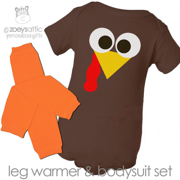 Thanksgiving bodysuit funny little turkey DARK brown bodysuit and matching leg warmer set