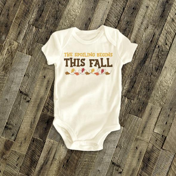 Infant bodysuit spoiling begins this fall pregnancy announcement bodysuit