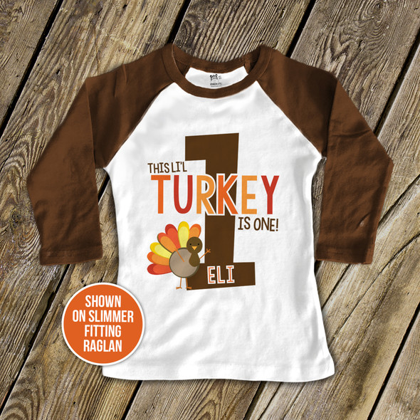First birthday shirt li'l turkey 1st (or any) birthday childrens personalized raglan Tshirt