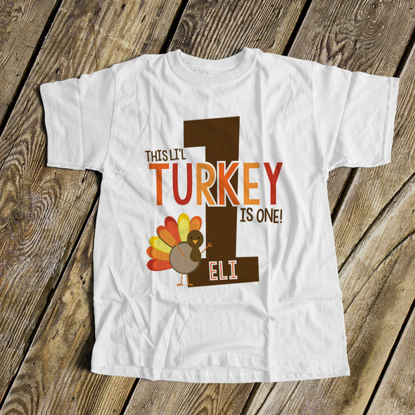 First birthday shirt li'l turkey 1st (or any) birthday childrens personalized Tshirt