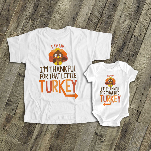 Thanksgiving sibling set brother or sister or twins thankful for little turkey matching Tshirts