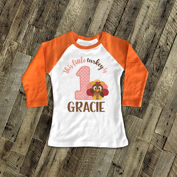 First birthday shirt little turkey 1st (or any) birthday girl personalized raglan Tshirt