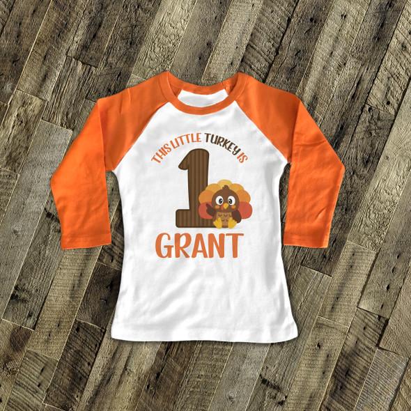 First birthday shirt little turkey 1st (or any) birthday boy personalized raglan Tshirt
