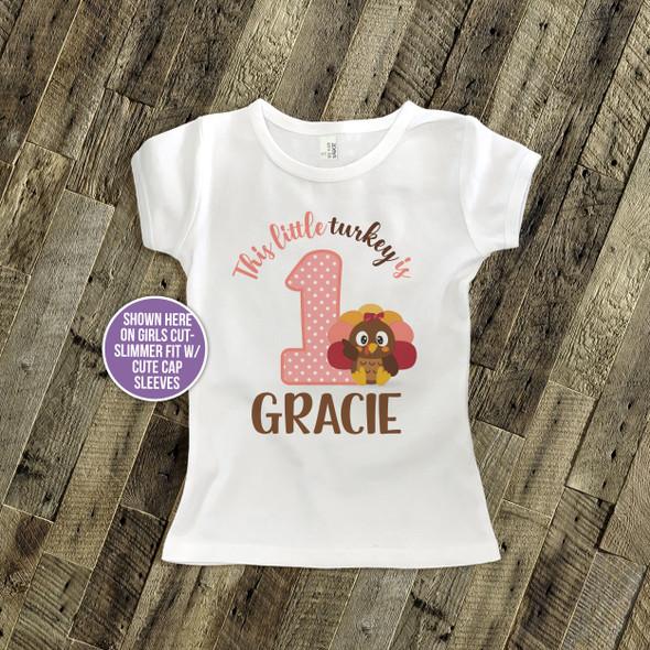 First birthday shirt little turkey 1st (or any) birthday girl personalized Tshirt