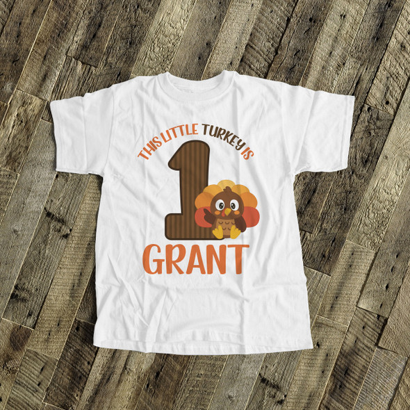 First birthday shirt little turkey 1st (or any) birthday boy personalized Tshirt