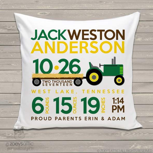 Birth announcement pillow tractor theme custom throw pillow with pillowcase