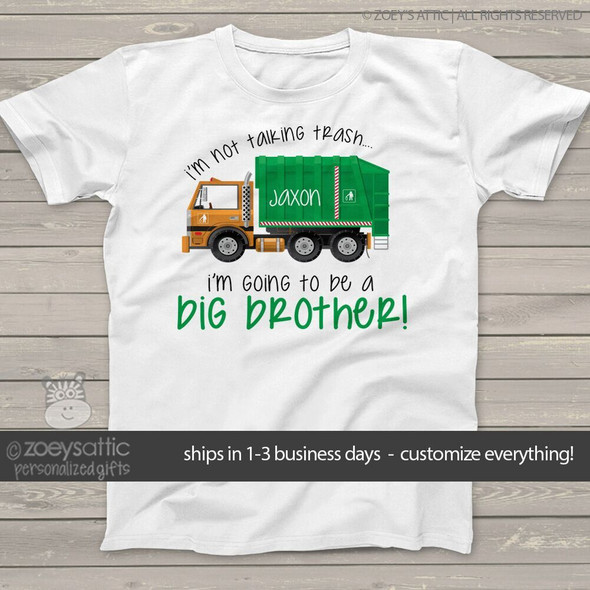 Big brother to be shirt garbage truck pregnancy announcement Tshirt
