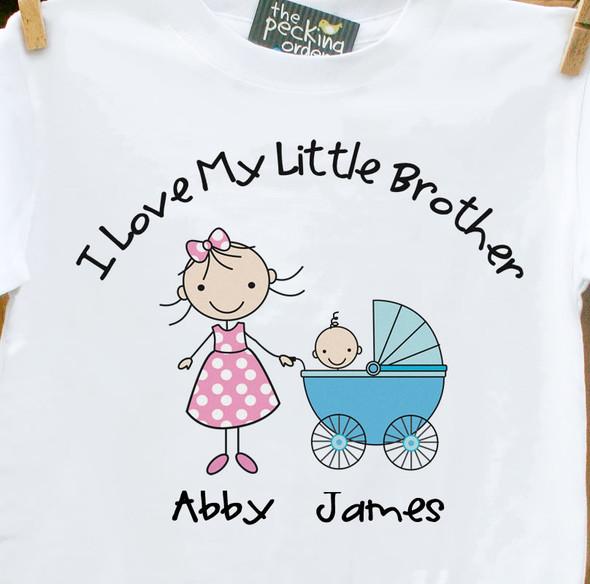 Big sister shirt stroller I love my little brother Tshirt