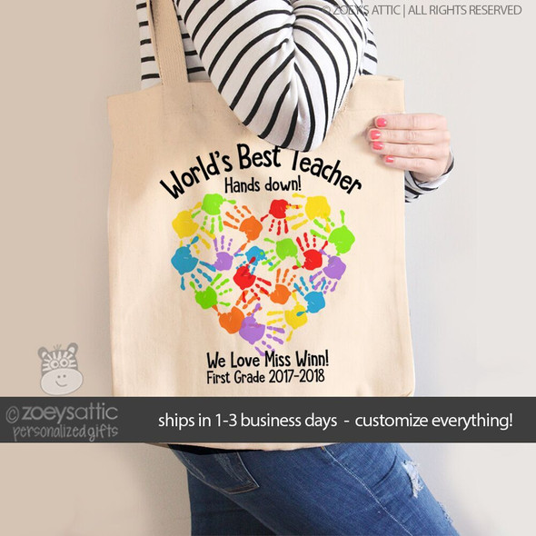 Worlds best teacher hands down personalized tote bag
