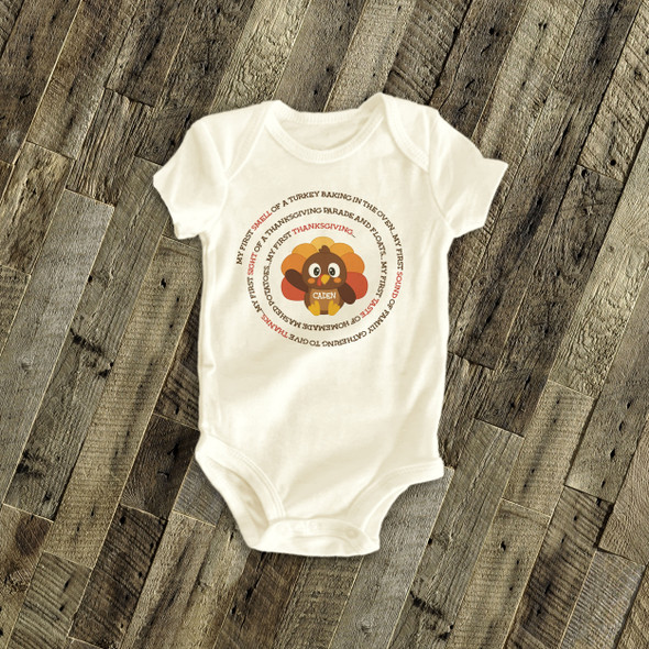 Thanksgiving bodysuit little turkey first Thanksgiving personalized bodysuit or Tshirt