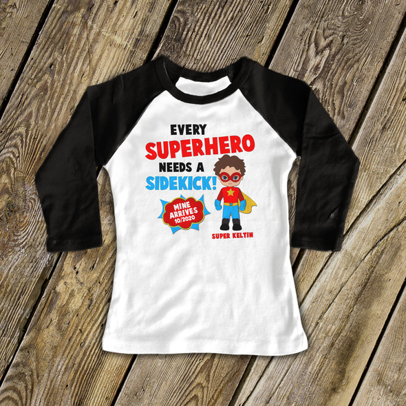 Big brother comic book superhero pregnancy announcement raglan Tshirt