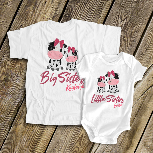 Brother or sister cow sibling Tshirt set