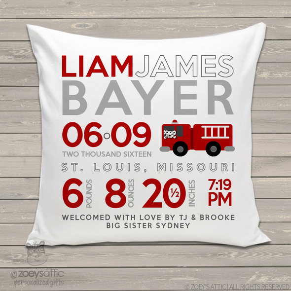Birth announcement pillow fire truck theme custom throw pillow with pillowcase