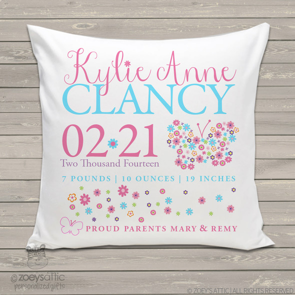Birth announcement pillow butterfly flower custom throw pillow with pillowcase
