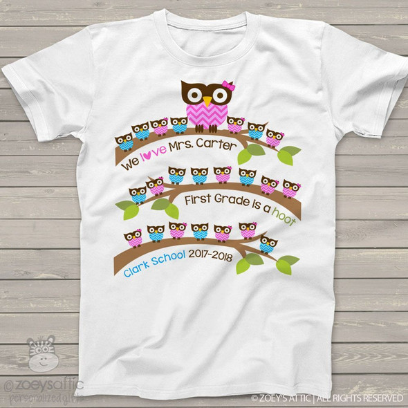 Teacher shirt gift from students school hoot owl personalized Tshirt