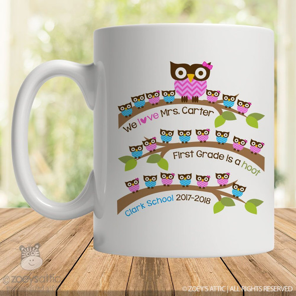 Coffee mug teacher gift school hoot owl custom mug