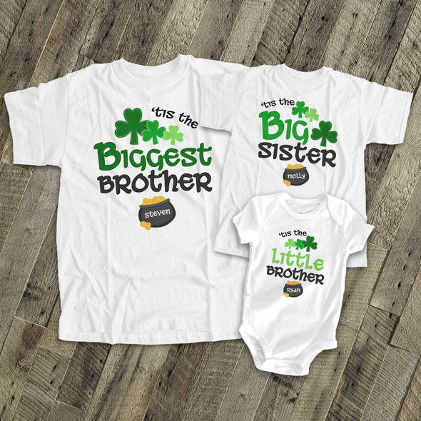 St. Patrick's Day sibling set brother or sister  shamrock and pot of gold matching Tshirts for three