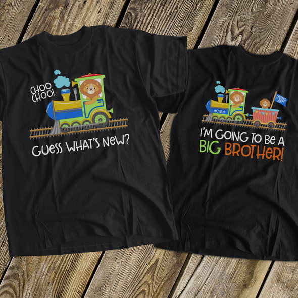 Big brother to be shirt guess whats new train pregnancy announcement DARK Tshirt